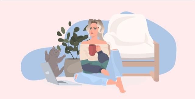 女性がコーヒーを飲んでいるイラスト
